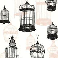 Vintage Birdcage Wallpaper Black + Caramel
