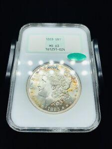 1883 Morgan Silver Dollar NGC MS63 CAC Old Fatty Holder - Nice toning