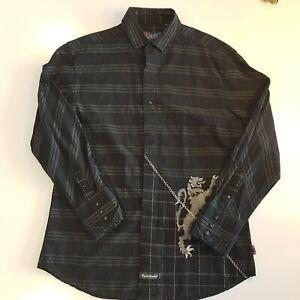 English Laundry Men Size M Button Front Shirt Christopher Wicks Black Drag -SC30