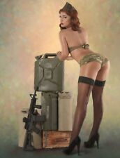 "TIN SIGN ""Army Girl Cans"" Pinup Babe Deco Garage Wall Decor"