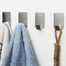 6x Adhesive Kitchen Wall Door Stainless Steel Square Stick Holder Hooks Hanger.