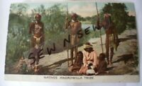 ANTIQUE VINTAGE OLD PHOTO POSTCARD ABORIGINAL ANDROWILLA TRIBE MEN WITH SPEARS
