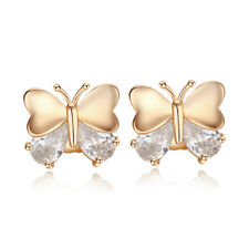 Cute butterfly yellow gold filled womens crystal heart Cute child stud earrings