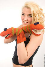Delux Snake Orange Lime Winter Warm Wool Mittens Fun Knit Mitts Cool Gloves NWT