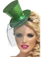 Womens Ladies Fever Sexy Green Mini Burlesque Top Hat Headband Fun Fancy Dress