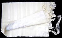 """Kosher Jewish Tallit Talis Prayer Shawl 100% Wool 43X63""""/110x160cm Israel.White"""