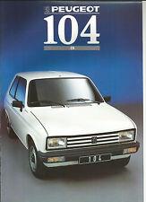PEUGEOT 104 ZA - 1988 catalogue brochure prospekt folder dépliant prospectus