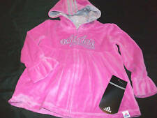 New Girls Adidas Babydoll pink zip up Jacket hoodie hearts size sz 2 2T velour