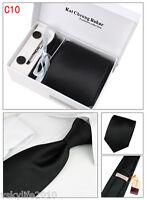 Mens Tie Set Dress Tie Cufflinks Hanky Tie Clip Gift Box Solid Black Strips Silk
