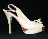 Enzo Angiolini Sweetness beige leather open toe slingback platform heels 8M