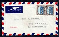 South Africa 1950 6d pair Airmail cover to Germany & Windhoek Label WS16670
