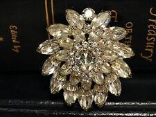 Vintage Weiss Pin Brooch Clear Crystal  Rhinestone Signed 3D Tier Heart