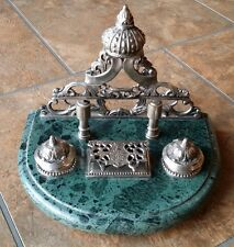 Vintage marble base silver plated/color metal double ink well