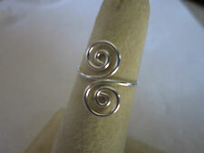 Adjustable Sterling Silver Toe Ring 925 Silver beach Style double swirl smooth