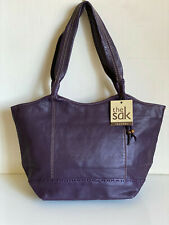 NEW! THE SAK FERNWOOD PEBBLE LEATHER BOYSENBERRY PURPLE SHOPPER TOTE BAG $129