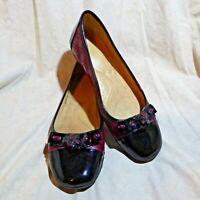 🥿 Naturalizer N5 Comfort Ballet Flats sz 8 M Red Patent; Black Cap Toe; Bow