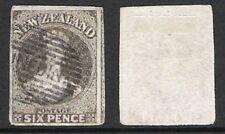 NEW ZEALAND 1862-64 CHALON/FFQ IMPERF 6d BLACK/BROWN 'DAVIES' (JF-F)