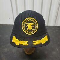 VTG 80'S NRA Mesh Snapback Trucker Hat Cap Patch Black Gold Leaf USA