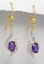 """Sterling Silver Amethyst Diamonds Dangle Earrings Yellow Gold Plate Vermeil 1.2"""""""