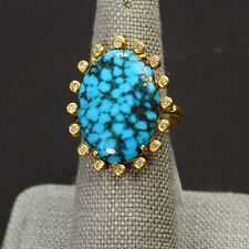 18k Solid Yellow Gold 15mmx20mm Spiderweb Turquoise 0.23CT Diamond Ring Size 5.5