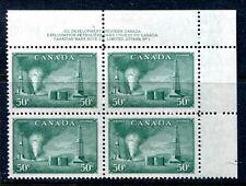 MNH Canada 50 Cent Oil Wells UR Plate No. 1 Block of 4 #294 (Lot #B418)