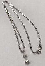 Solid 14K White Gold Three DIAMOND Pendant Figaro Link Chain 2mm Chain Necklace