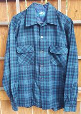 Vtg MONTBLANC Wool Blend Plaid Shirt-M-Blue Black -Button Up-Pockets-RN 35764