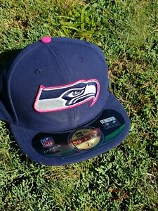 New Era Gray Seattle Seahawks Crucial Catch Cancer FITTED ONFIELD HAT 7 1/2