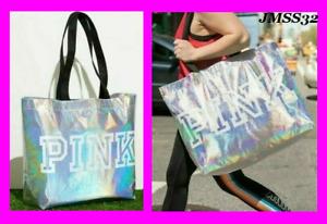 Victoria's Secret Pink Silver Iridescent XL Tote Bag Lightweight NWT