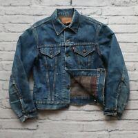 Vintage 70s Levis Type 3 Blanket Lined Denim Trucker Jean Jacket Made in USA