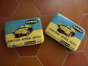 2 boites réparation rustines romac puncture repair outfit  automobile ancienne
