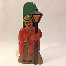 Vtg Folk Art Carved ANRI? Drunk Man Lamp Post Wood Brush Holder Wall Pocket