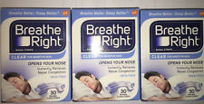 (90) BREATHE RIGHT NASAL STRIPS SM/MED CLEAR (3 X 30 CT BOXES ) SHIPS WORLD WIDE