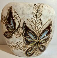 Handmade Pottery Vase with Butterflies 8.5 Inches Tall  Signed Dated    TR0497