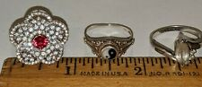 3 Lot Sterling Silver Rings Sizes 7 - 7 1/4 Ying Yang , Cz, Scott & Jenna Tested