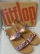 Fitflop Lottie Flowercrush Oyster Pink Back Strap Cross Sandals Ladies Box Sz 7