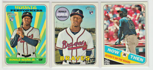 (3)2018 Topps Heritage High Series RONALD ACUNA Jr. RC Lot! Base+Performers+N&T!
