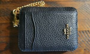 COACH Zip ID Card Case With Gold Chain BLACK Leather Mini Coin Wallet 6303