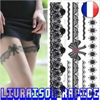 Tatouage Temporaire Henné Noir Dentelle Stocking Noeuds Tatoo Art Mariage Mode