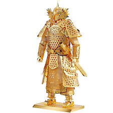 Japanese Samurai Warrior Figure Gold Metal Model DIY Construction Decoration Toy