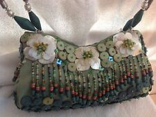 Beaded green purse handbag flowers mother of pearl brand with tags