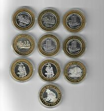 Lot of 10 -  .999 Fine Silver Center Casino Chip $10 Token - Mixed Random