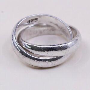 Size 6.25, Vtg Sterling Silver handmade Ring. 925 modernist, Entwined band