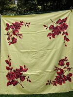 """Vintage Mid Century Colorful Floral Print Tablecloth Bold Red Flowers 52 x 53"""""""