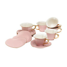 Yedi Coffee & Tea Inside Out Heart Pink Gold 5 oz Cups & Saucer Plates Set of 6