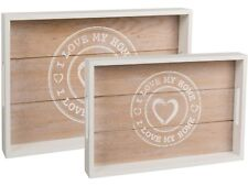 Tablett Serviertablett I Love My Home 2er Set Holz Vintage Küche Bar weiß/natur