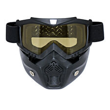 Motocross motorcycle Face Mask Shield Goggles & Mask Black Frame yellow lens