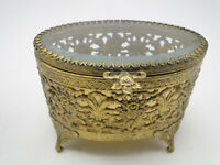 Vintage Oval Jewelry Casket Box Crystal w Filigree Gilded Metal