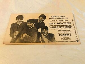 THE BEATLES A HARD DAYS NIGHT 1964 MOVIE TICKET STUB FLORIDA THEATRE FT.LAUD