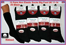 12 pairs MENS NON ELASTIC BLACK SOCKS DIABETIC BIG FOOT size uk 11-14